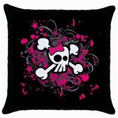 Girly Skull And Crossbones Black Throw Pillow Case