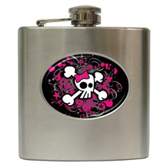 Girly Skull And Crossbones Hip Flask by ArtistRoseanneJones