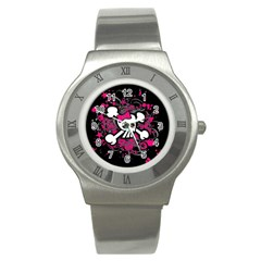 Girly Skull And Crossbones Stainless Steel Watch (slim)