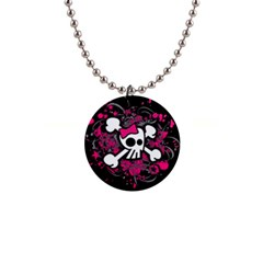 Girly Skull And Crossbones Button Necklace