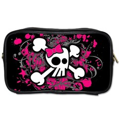 Girly Skull And Crossbones Travel Toiletry Bag (one Side) by ArtistRoseanneJones