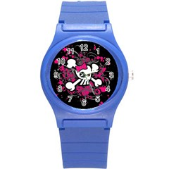 Girly Skull And Crossbones Plastic Sport Watch (small)
