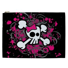 Girly Skull And Crossbones Cosmetic Bag (xxl)