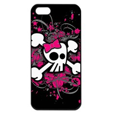 Girly Skull And Crossbones Apple Iphone 5 Seamless Case (black)