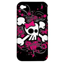 Girly Skull And Crossbones Apple Iphone 4/4s Hardshell Case (pc+silicone) by ArtistRoseanneJones