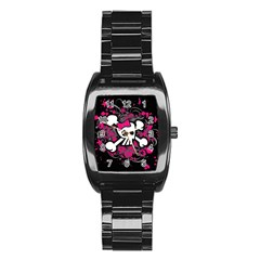 Girly Skull And Crossbones Stainless Steel Barrel Watch