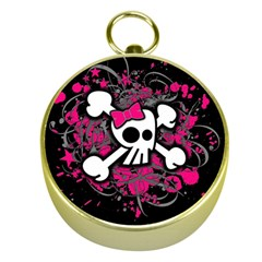Girly Skull And Crossbones Gold Compass by ArtistRoseanneJones
