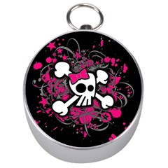 Girly Skull And Crossbones Silver Compass