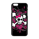 Girly Skull And Crossbones Apple iPhone 6 Black Enamel Case Front