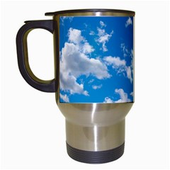 Bright Blue Sky Travel Mug (white) by ansteybeta