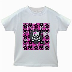 Pink Bow Skull Kids T Shirt (white)