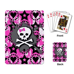 Pink Bow Skull Playing Cards Single Design by ArtistRoseanneJones