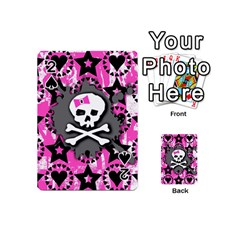Pink Bow Skull Playing Cards 54 Designs (mini) by ArtistRoseanneJones