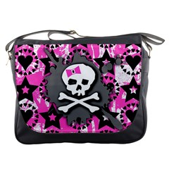 Pink Bow Skull Messenger Bag by ArtistRoseanneJones