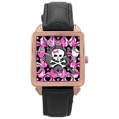 Pink Bow Skull Rose Gold Leather Watch  by ArtistRoseanneJones