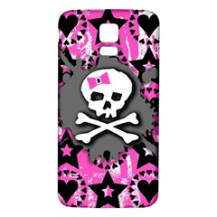 Pink Bow Skull Samsung Galaxy S5 Back Case (white) by ArtistRoseanneJones