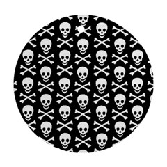 Skull And Crossbones Pattern Round Ornament by ArtistRoseanneJones