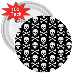 Skull And Crossbones Pattern 3  Button (100 Pack) by ArtistRoseanneJones