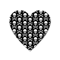 Skull And Crossbones Pattern Magnet (heart) by ArtistRoseanneJones