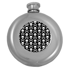 Skull And Crossbones Pattern Hip Flask (round) by ArtistRoseanneJones