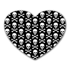 Skull And Crossbones Pattern Mouse Pad (heart) by ArtistRoseanneJones