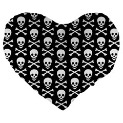 Skull And Crossbones Pattern Large 19  Premium Heart Shape Cushion by ArtistRoseanneJones