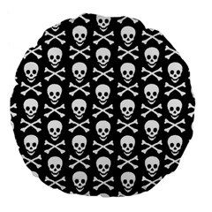 Skull And Crossbones Pattern Large 18  Premium Flano Round Cushion  by ArtistRoseanneJones