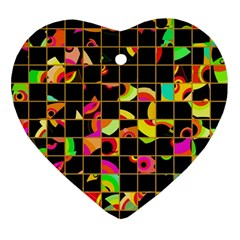 Pieces In Squares Ornament (heart) by LalyLauraFLM
