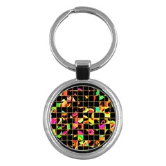 Pieces In Squares Key Chain (round) by LalyLauraFLM