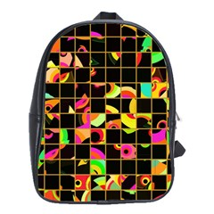 Pieces In Squares School Bag (large) by LalyLauraFLM