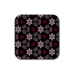 Floral Pattern On A Brown Background Rubber Square Coaster (4 Pack) by LalyLauraFLM