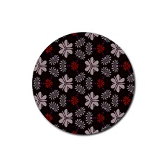Floral Pattern On A Brown Background Rubber Round Coaster (4 Pack) by LalyLauraFLM