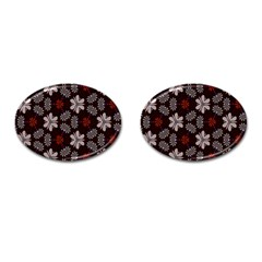 Floral Pattern On A Brown Background Cufflinks (oval) by LalyLauraFLM