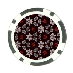 Floral Pattern On A Brown Background Poker Chip Card Guard by LalyLauraFLM