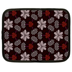 Floral Pattern On A Brown Background Netbook Case (xxl) by LalyLauraFLM
