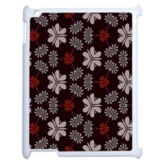 Floral Pattern On A Brown Background Apple Ipad 2 Case (white) by LalyLauraFLM