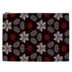 Floral Pattern On A Brown Background Cosmetic Bag (xxl) by LalyLauraFLM
