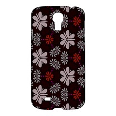 Floral Pattern On A Brown Background Samsung Galaxy S4 I9500/i9505 Hardshell Case by LalyLauraFLM
