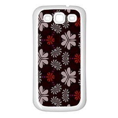 Floral Pattern On A Brown Background Samsung Galaxy S3 Back Case (white) by LalyLauraFLM