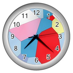 Colorful Pastel Shapes Wall Clock (silver) by LalyLauraFLM