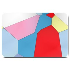 Colorful Pastel Shapes Large Doormat by LalyLauraFLM