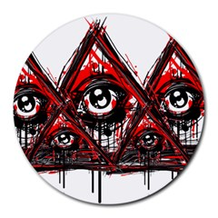 Red White Pyramids 8  Mouse Pad (round) by teeship