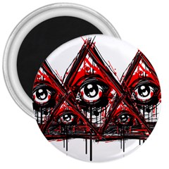 Red White Pyramids 3  Button Magnet by teeship