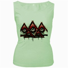 Red White Pyramids Women s Tank Top (green)