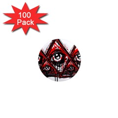 Red White Pyramids 1  Mini Button Magnet (100 Pack) by teeship