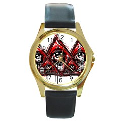 Red White Pyramids Round Leather Watch (gold Rim)