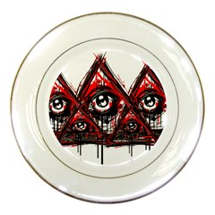 Red White Pyramids Porcelain Display Plate by teeship