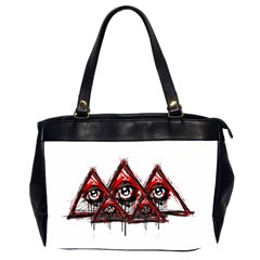 Red White Pyramids Oversize Office Handbag (two Sides) by teeship