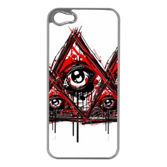 Red White Pyramids Apple Iphone 5 Case (silver) by teeship