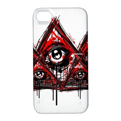 Red White Pyramids Apple Iphone 4/4s Hardshell Case With Stand